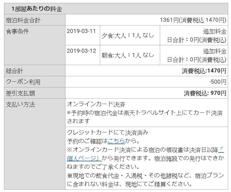 訂房明細-一晚稅後970日圓